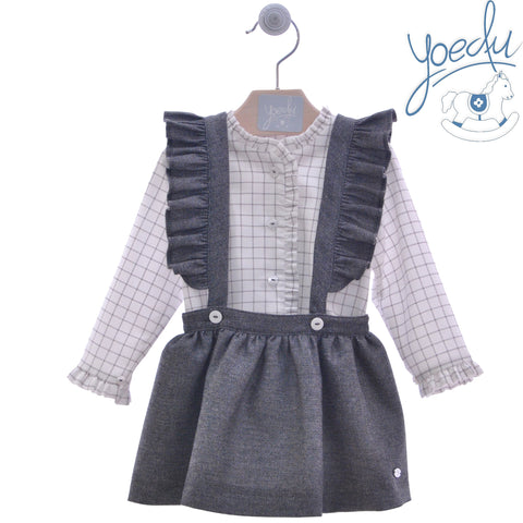 Girls overall dress with long sleeve plaid shirt blue