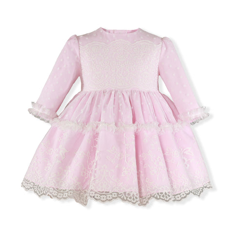 Girls dots lace long sleeve pink dress