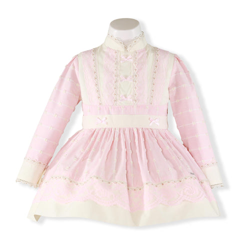 Girls Light pink and ivory long sleeve dress