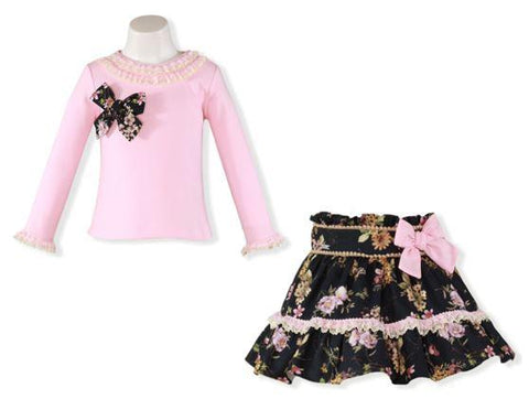 Girls flowers print skirt set in pink black