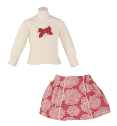 Girls big flowers skirt set