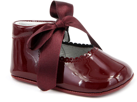 Baby Girls patent tie soft wine shoes
