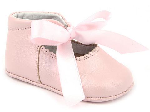 BABY GIRLS SOFT RIBBON SHOES IN PINK