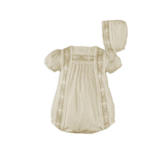 Baby boy beige lace details romper with bonnet set