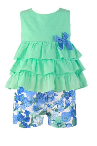 Girls ruffles shirt and flowers print set