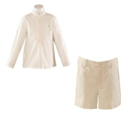 Boys Ivory long sleeve shirt with Beige short pant
