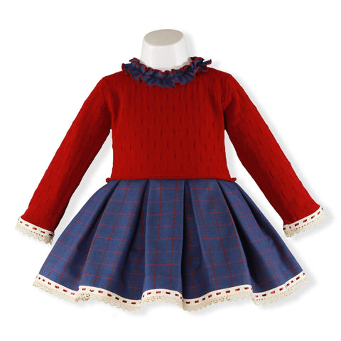 Girls Red Blue with plaid long sleeve dress