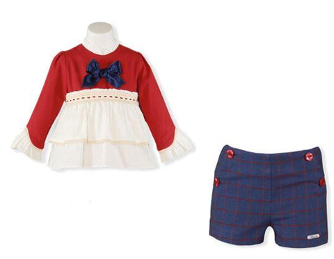 Girls long sleeve ruffle shirt and blue red plaid short