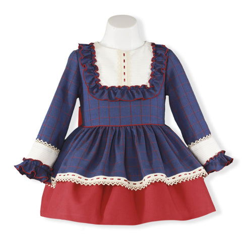 Girls long sleeve blue dress red plaids and  ruffle