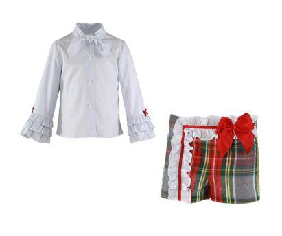 Girls red green plaid short and long sleeve  bow shirt