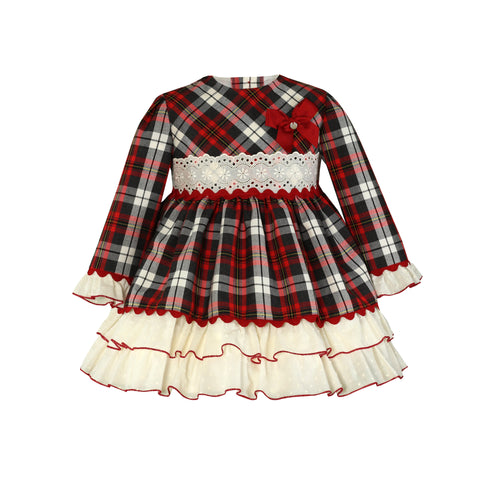 Girls plaid and plumeti ruffle long sleeve dress