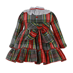 Girls red green plaid ruffle and blue collar dress