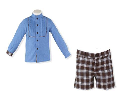 Boys Brown plaid short and long sleeve shirt