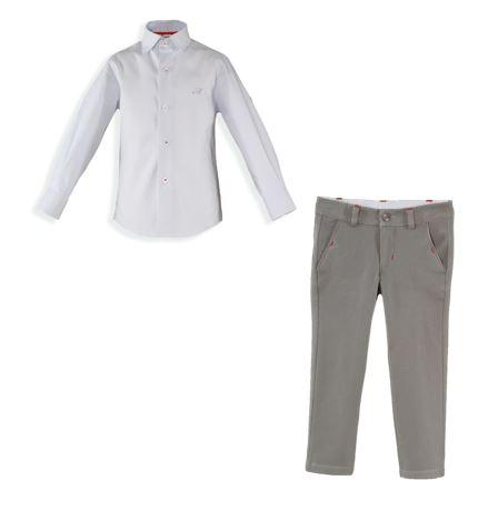 Boys Gray long pants and blue shirt set