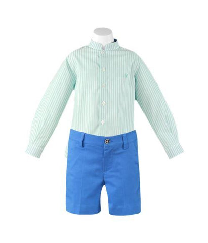 BOY STRIPED LONG SLEEVE SHIRT GREEN WITH BLUE SHORTS