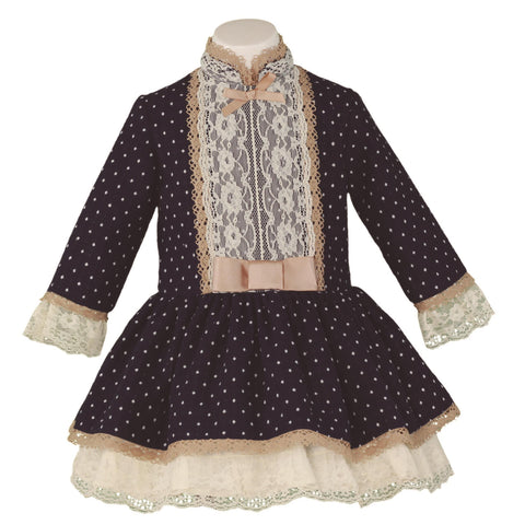 GIRLS POLKA DOTS & LACE LONG SLEEVE DRES
