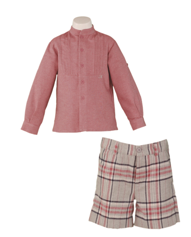 Boys long sleeve shirt button down and plaid short