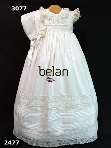 Traditional baptism gown sleeveless dots lace details 2 p