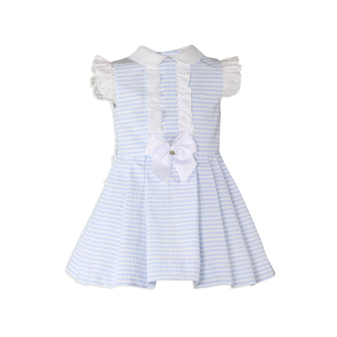 Girls stripes with collar princess cut dress