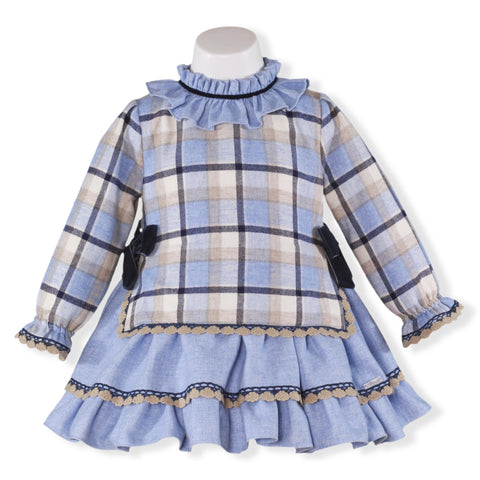 Girls long sleeve big plaid and ruffles dress