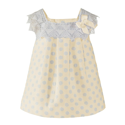 Baby girls polka dots and lace collar dress