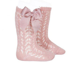 Girls openwork knee high socks with bow