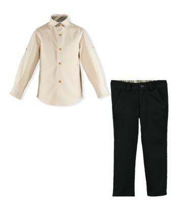 Boyslong sleeve shirt and green long pants