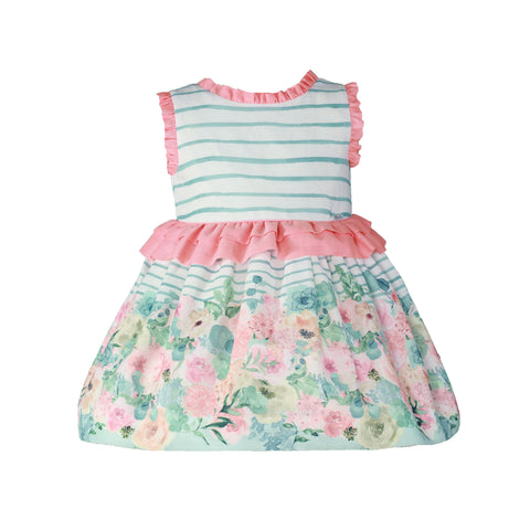 Girls gardens print and stripes dress