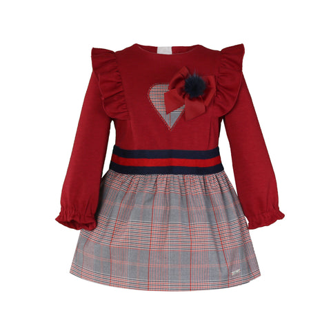 Girls plaid and heart  with pom pom long sleeve dress