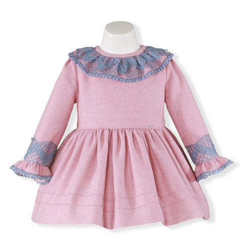 Girls long sleeve pink dress with blue lace collar