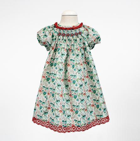 Girls floral print and smocked dress