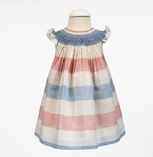 Girls colors striped and smocked  white dress