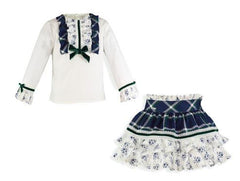 Girls floral ruffle plaid skirt and shirt set