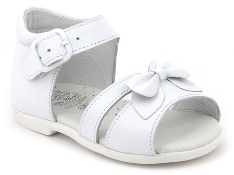 Baby Girls white with bow sandals