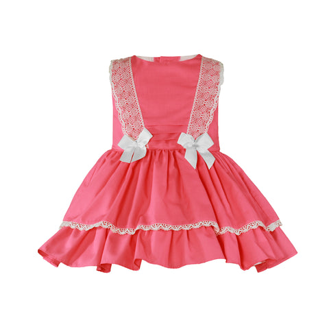 Girls coral and bows dress