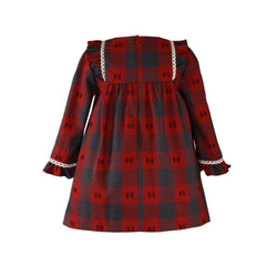 Girls grey and red  plaid long sleeve dress