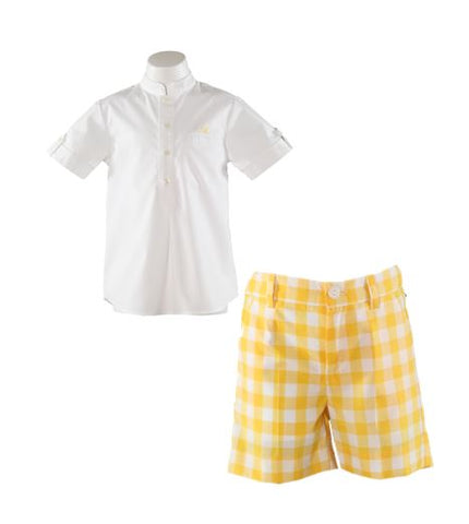 Boys Yellow check print short set