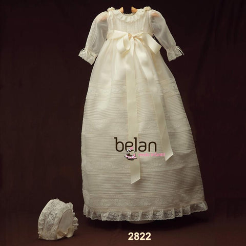 Traditional silk baptism gown long sleeve 2p