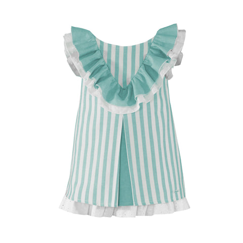 Girls stripes and collar ruffle  turquoise dress