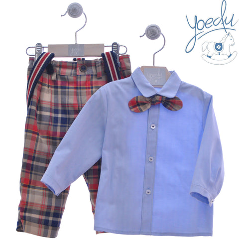 Boy plaid pant with suspenders and long sleeve shirt and bow tie