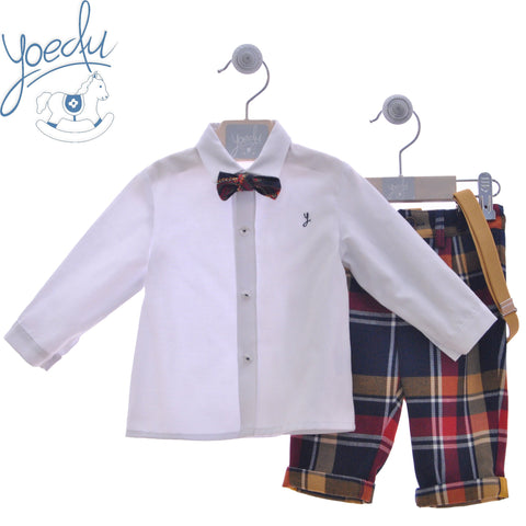 Boys plaid long pants with suspenders and white long sleeve shirt with suspenders