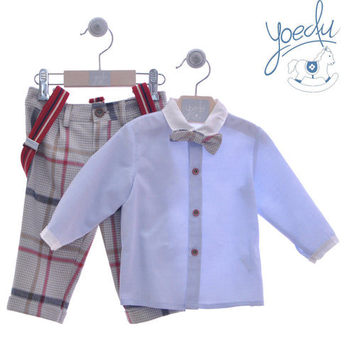Boys plaid gray pants with suspenders and long sleeve blue shirt