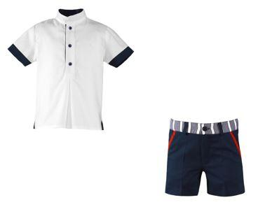Boys mao collar shirt with marine short pants
