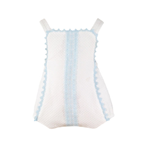 Baby boy white romper with light blue details