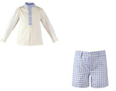 Baby  plaid short  and mao collar white shirt set