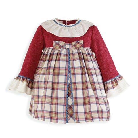 Girls Knit and burgundy plaid dress