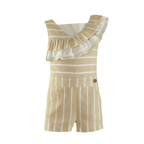 Girls stripes ruffles romper beige