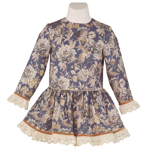 GIRLS FLOWERS PRINT LONG SLEEVE DRESS