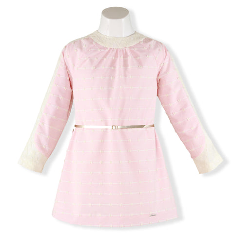 Girls long sleeve pink dress with gold belt