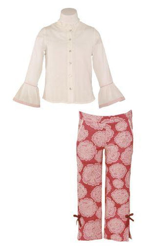 Girls big flowers pants set